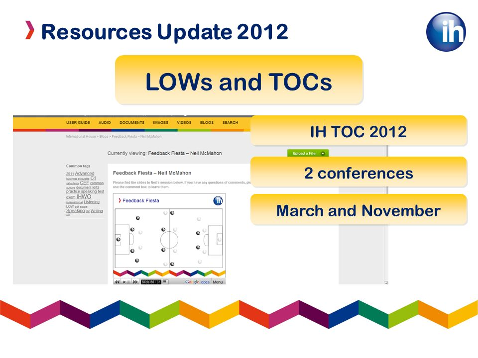 Resources Update 2012 LOWs and TOCs IH TOC conferences March and November