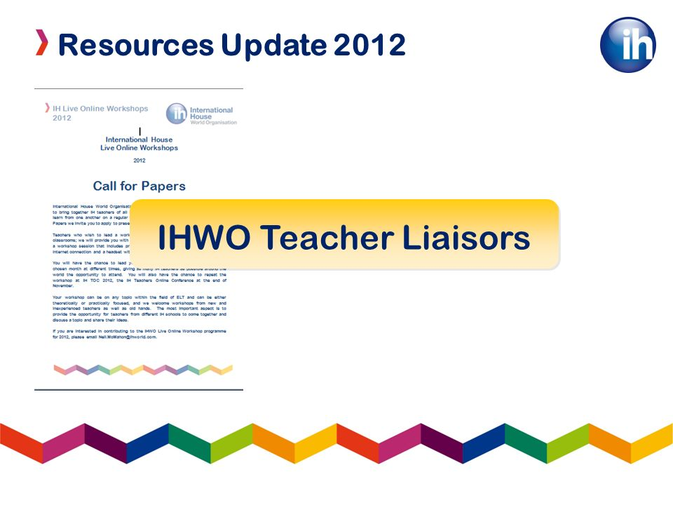 Resources Update 2012 IHWO Teacher Liaisors