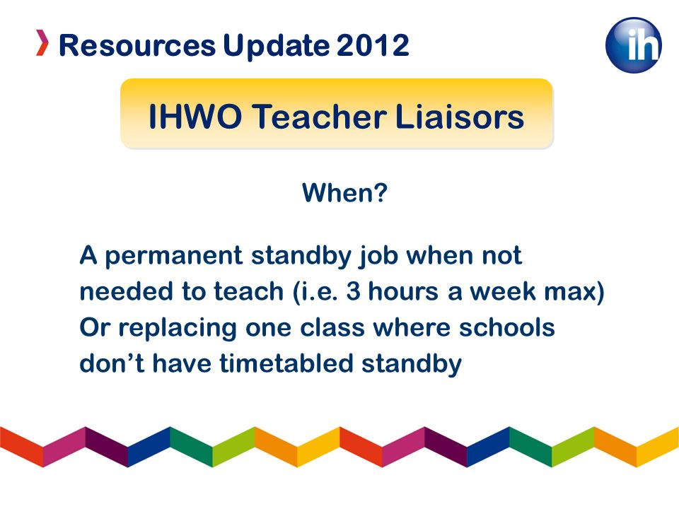 Resources Update 2012 IHWO Teacher Liaisors When.