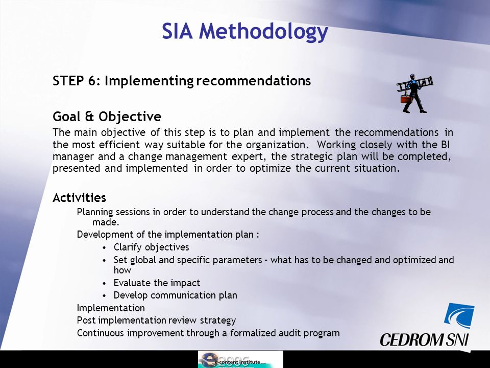 STEP 6: Implementing recommendations Goal & Objective The main objective of this step is to plan and implement the recommendations in the most efficient way suitable for the organization.