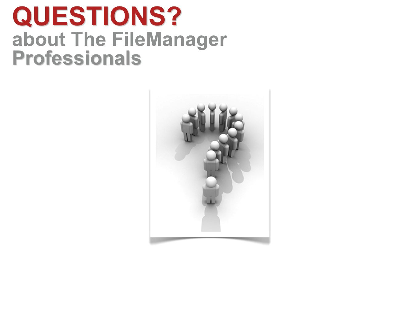 QUESTIONS Professionals about The FileManager Professionals