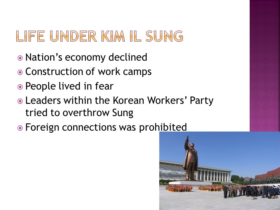 Nations economy declined Construction of work camps People lived in fear Leaders within the Korean Workers Party tried to overthrow Sung Foreign connections was prohibited