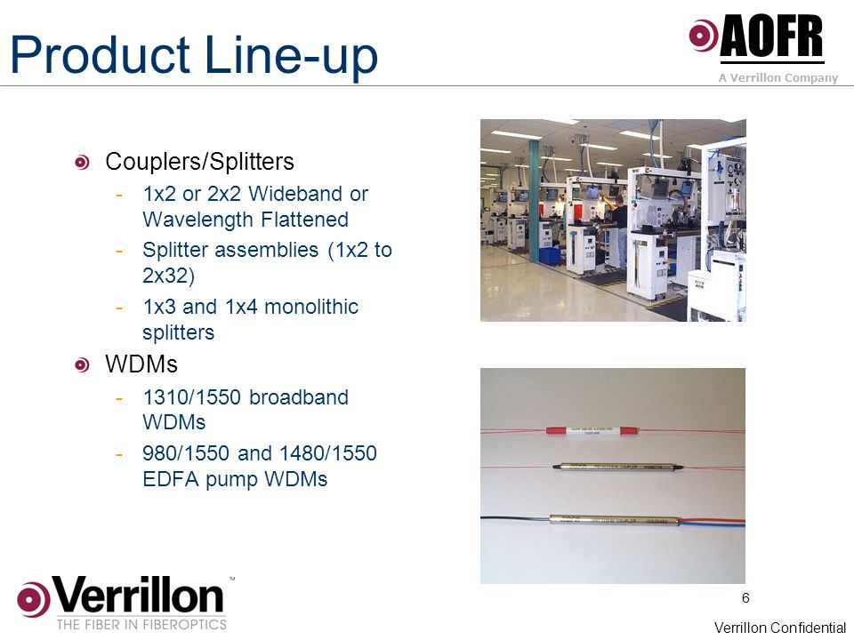 6 Verrillon Confidential Product Line-up Couplers/Splitters -1x2 or 2x2 Wideband or Wavelength Flattened -Splitter assemblies (1x2 to 2x32) -1x3 and 1x4 monolithic splitters WDMs -1310/1550 broadband WDMs -980/1550 and 1480/1550 EDFA pump WDMs AOFR A Verrillon Company