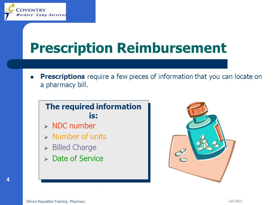 4 Illinois Regulation Training - Pharmacy July 2011 Prescription Reimbursement Prescriptions require a few pieces of information that you can locate on a pharmacy bill.