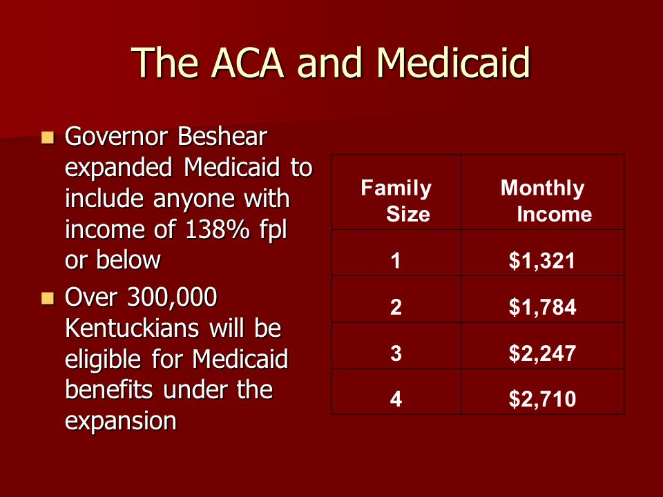 The ACA and Medicaid Governor Beshear expanded Medicaid to include anyone with income of 138% fpl or below Governor Beshear expanded Medicaid to include anyone with income of 138% fpl or below Over 300,000 Kentuckians will be eligible for Medicaid benefits under the expansion Over 300,000 Kentuckians will be eligible for Medicaid benefits under the expansion Family Size Monthly Income 1$1,321 2$1,784 3$2,247 4$2,710