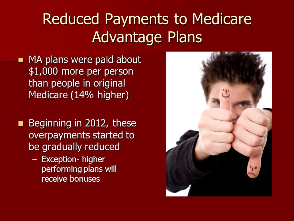 Reduced Payments to Medicare Advantage Plans MA plans were paid about $1,000 more per person than people in original Medicare (14% higher) MA plans were paid about $1,000 more per person than people in original Medicare (14% higher) Beginning in 2012, these overpayments started to be gradually reduced Beginning in 2012, these overpayments started to be gradually reduced –Exception- higher performing plans will receive bonuses