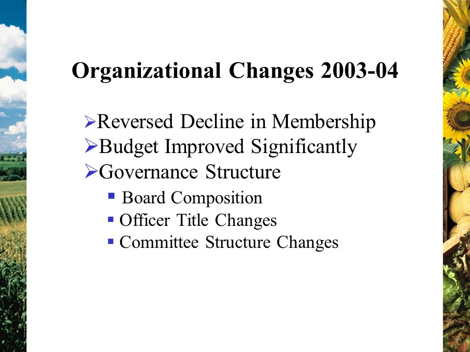 Organizational Changes Reversed Decline in Membership Budget Improved Significantly Governance Structure Board Composition Officer Title Changes Committee Structure Changes
