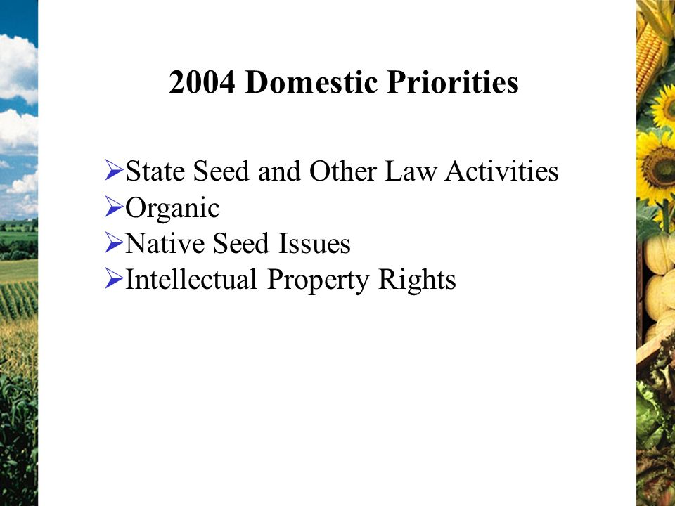 2004 Domestic Priorities State Seed and Other Law Activities Organic Native Seed Issues Intellectual Property Rights