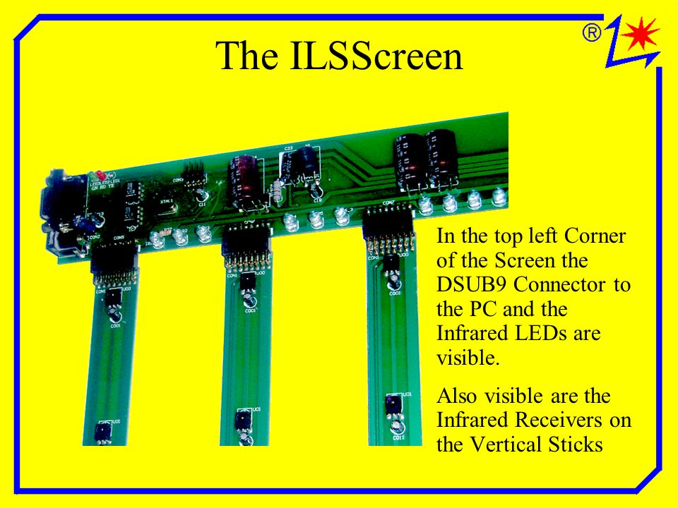 The ILSScreen In the top left Corner of the Screen the DSUB9 Connector to the PC and the Infrared LEDs are visible.