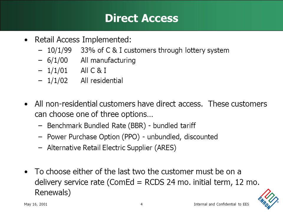 Internal and Confidential to EESMay 16, 20014 Direct Access Retail Access Implemented: –10/1/99 33% of C & I customers through lottery system –6/1/00 All manufacturing –1/1/01 All C & I –1/1/02 All residential All non-residential customers have direct access.