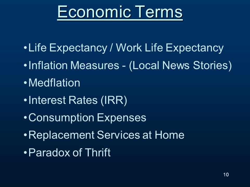 Life Expectancy / Work Life Expectancy Inflation Measures - (Local News Stories) Medflation Interest Rates (IRR) Consumption Expenses Replacement Services at Home Paradox of Thrift Economic Terms 10