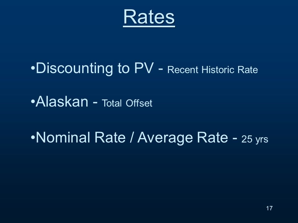 Rates Discounting to PV - Recent Historic Rate Alaskan - Total Offset Nominal Rate / Average Rate - 25 yrs 17