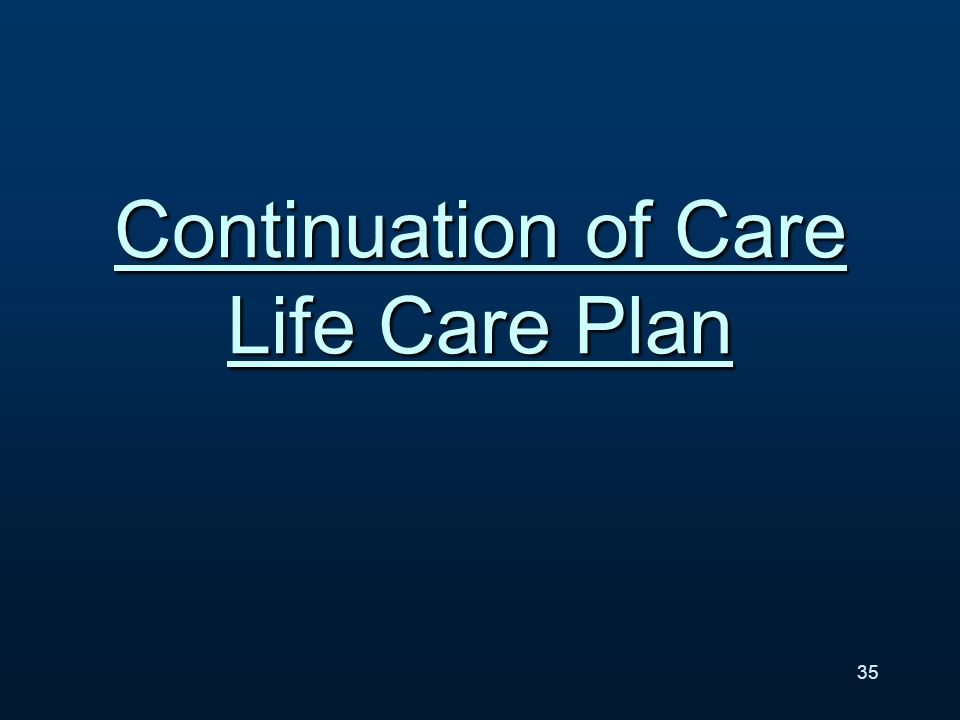 Continuation of Care Life Care Plan 35