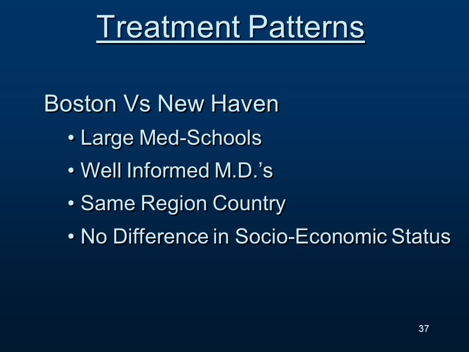 Boston Vs New Haven Large Med-Schools Well Informed M.D.s Same Region Country No Difference in Socio-Economic Status Boston Vs New Haven Large Med-Schools Well Informed M.D.s Same Region Country No Difference in Socio-Economic Status Treatment Patterns 37