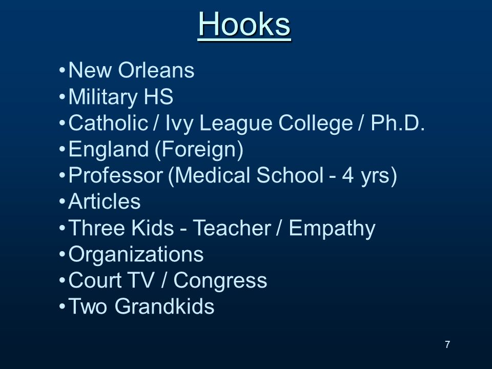 New Orleans Military HS Catholic / Ivy League College / Ph.D.