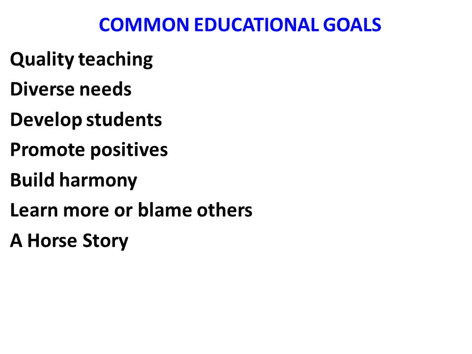 COMMON EDUCATIONAL GOALS Quality teaching Diverse needs Develop students Promote positives Build harmony Learn more or blame others A Horse Story