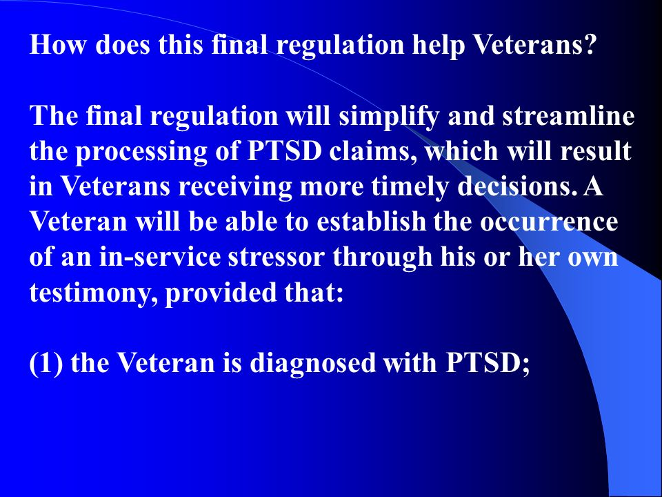 How does this final regulation help Veterans.