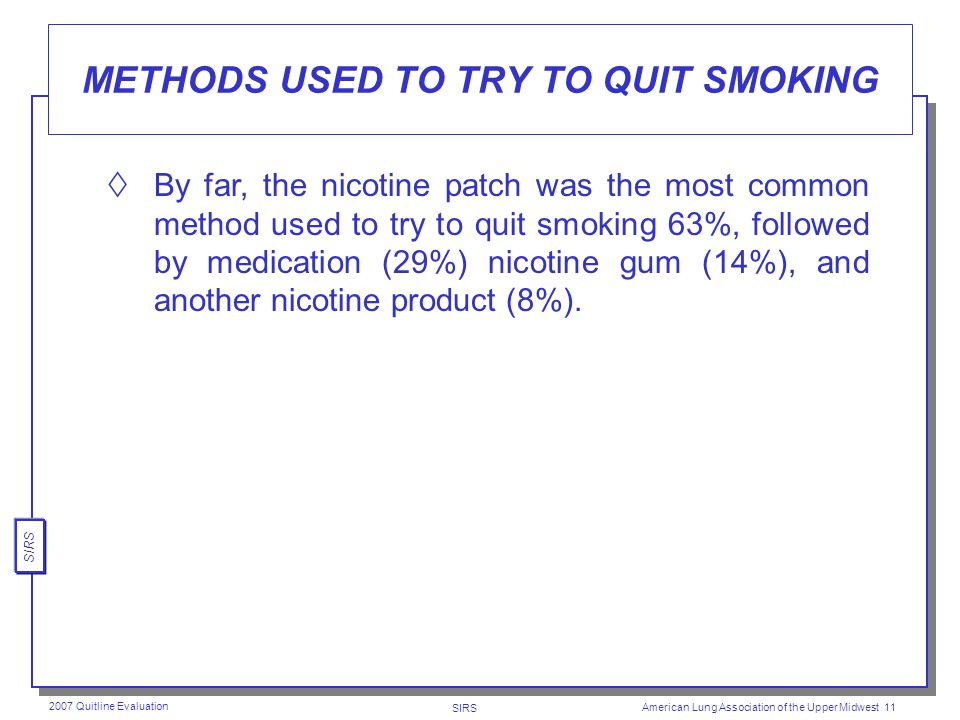 SIRS 2007 Quitline Evaluation American Lung Association of the Upper Midwest 10 QUIT FOR 24 HOURS OR LONGER The vast majority (75%) said they had quit using tobacco for 24 hours or longer since calling the Quitline.