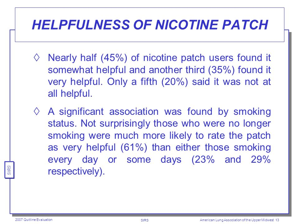 SIRS 2007 Quitline Evaluation American Lung Association of the Upper Midwest 12 USE OF NICOTINE PATCH Nearly two-thirds (63%) of respondents reported using a nicotine patch.
