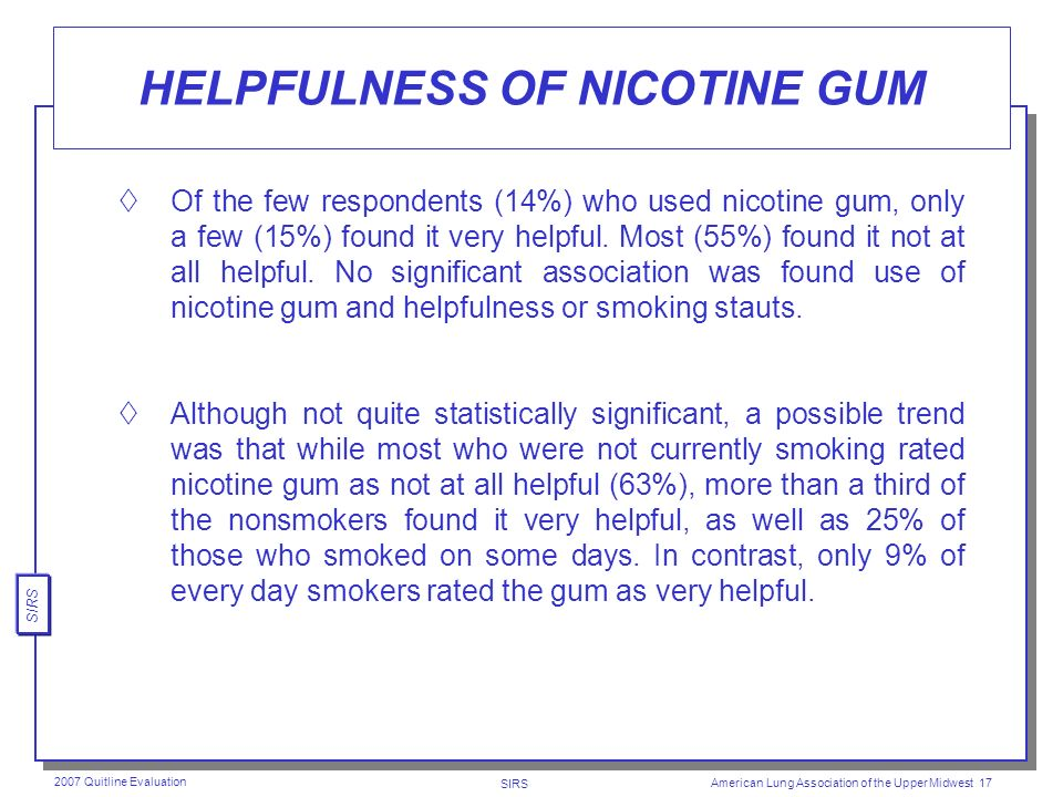 SIRS 2007 Quitline Evaluation American Lung Association of the Upper Midwest 16 USE OF NICOTINE GUM The vast majority of respondents (86%) did not use nicotine gum.