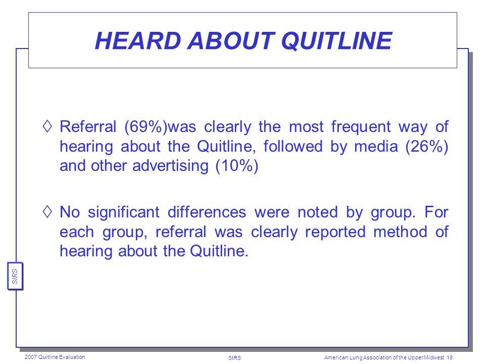 SIRS 2007 Quitline Evaluation American Lung Association of the Upper Midwest 17 HELPFULNESS OF NICOTINE GUM Of the few respondents (14%) who used nicotine gum, only a few (15%) found it very helpful.
