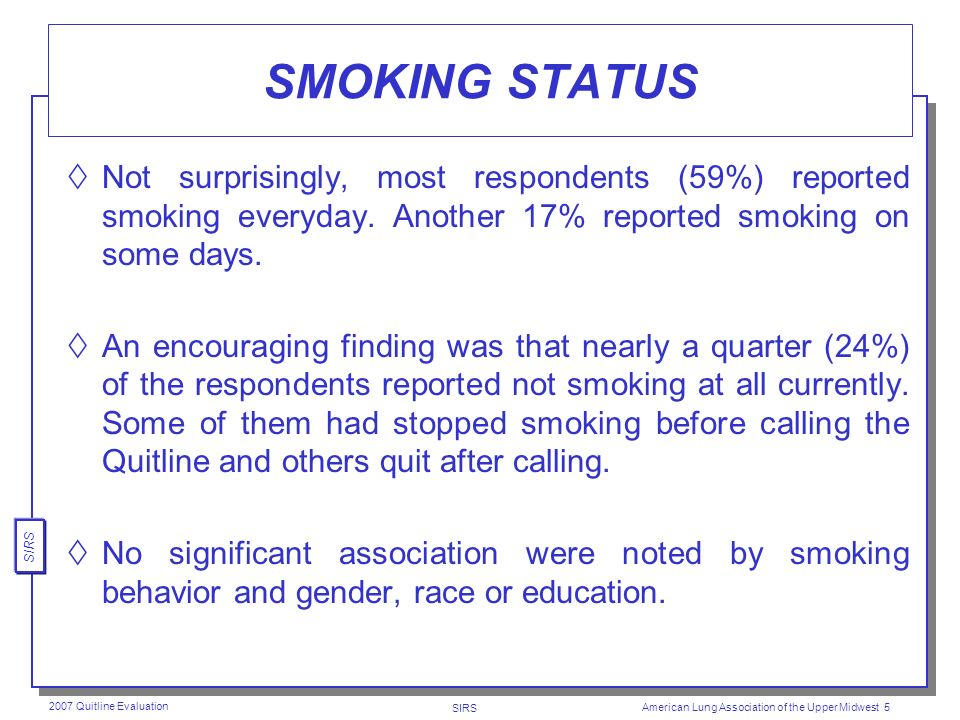 SIRS 2007 Quitline Evaluation American Lung Association of the Upper Midwest 4 DEMOGRAPHICS RACE (most White) 89% White 9% African-American Other Age (most Middle-aged) Mean 48 Median 48 Wide range Education (fairly well-educated) 51% at least some college Only 11% less than a high school diploma Health Insurance Approximately three-fourths (76%) of respondents have health insurance.