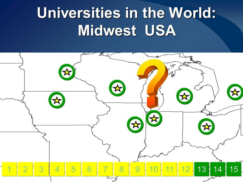 Universities in the World: Midwest USA 456789101112131415123
