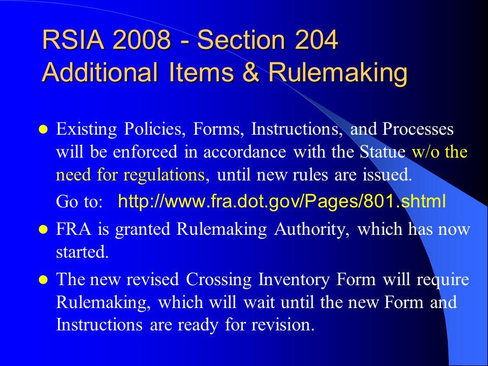 DOT Crossing Inventory Program Federal Crossing Regulations