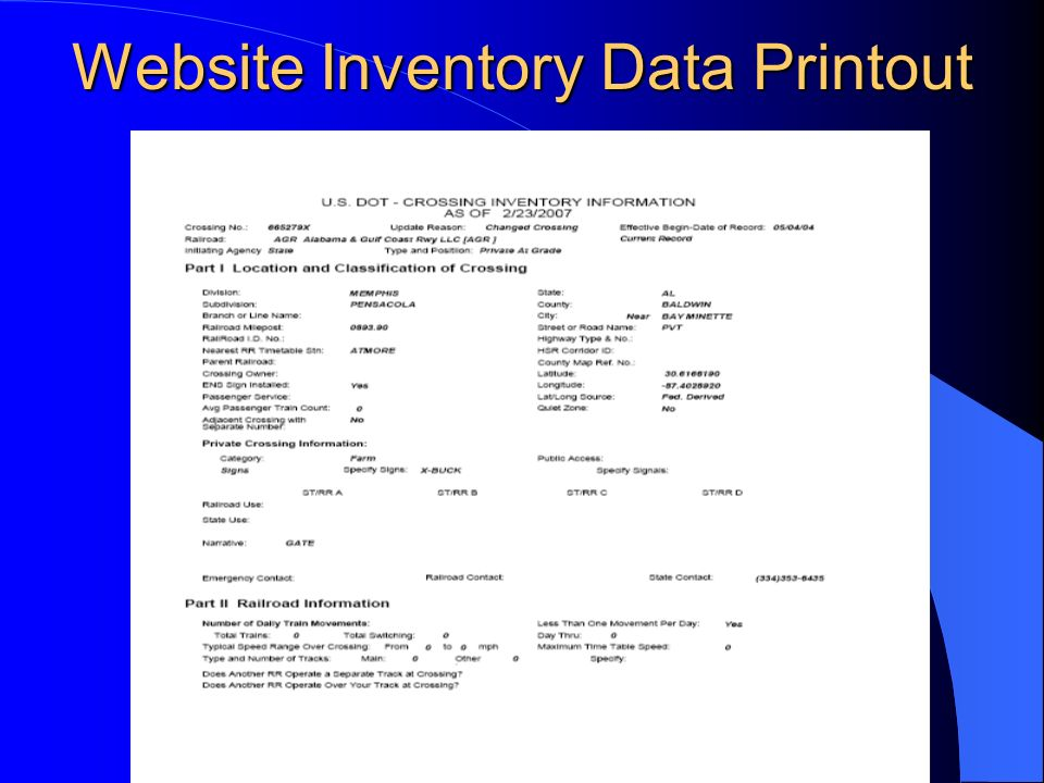 Website Inventory Data Printout