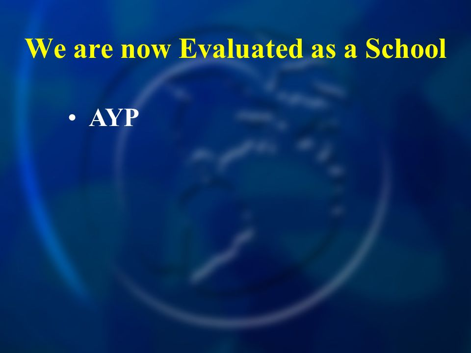 We are now Evaluated as a School AYP