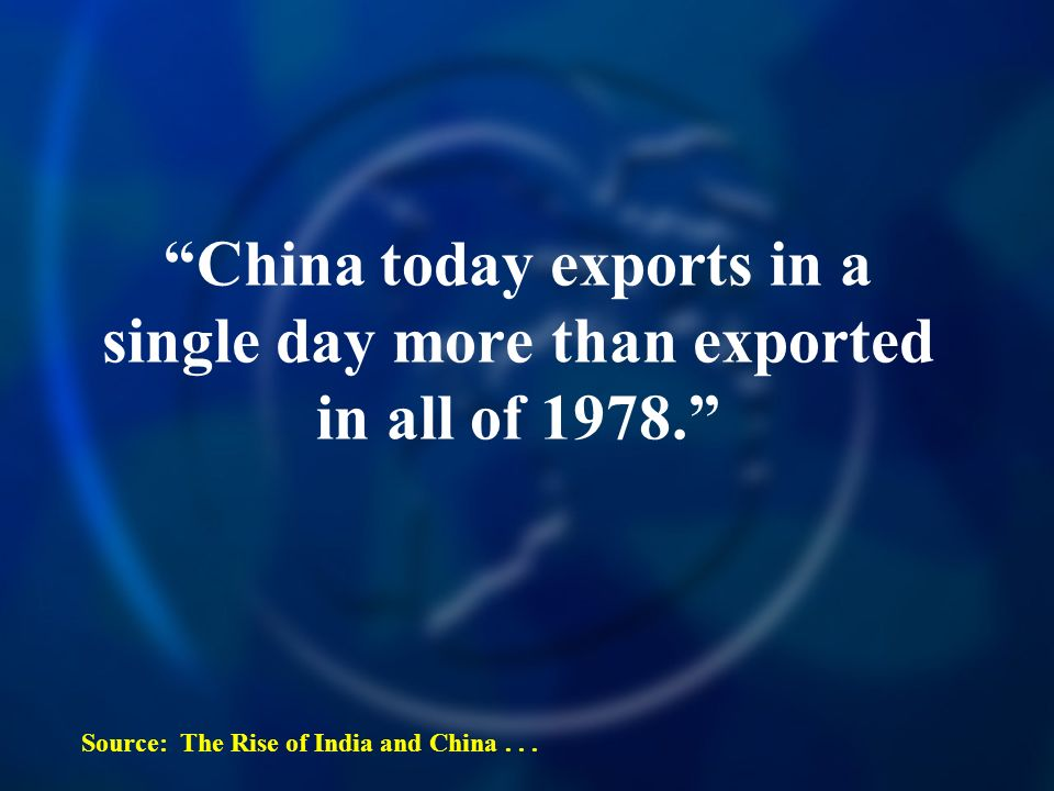 China today exports in a single day more than exported in all of 1978.