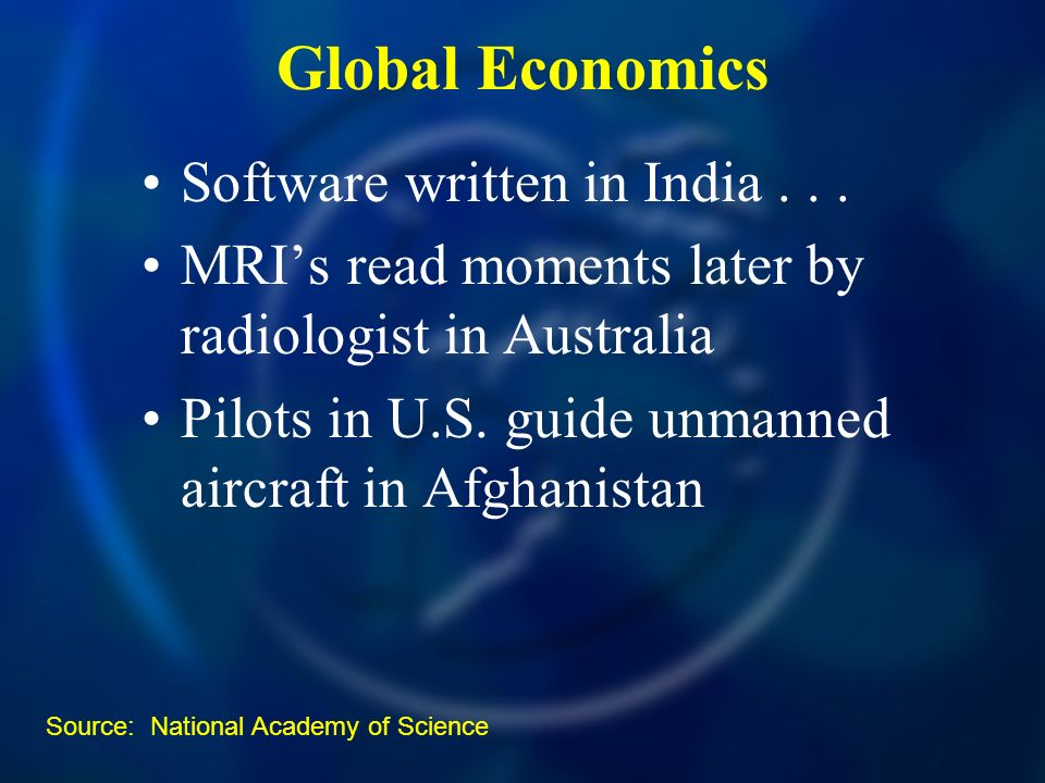 Global Economics Software written in India...