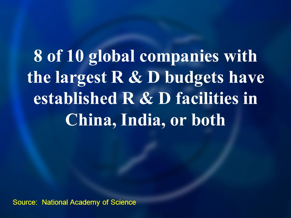 8 of 10 global companies with the largest R & D budgets have established R & D facilities in China, India, or both Source: National Academy of Science