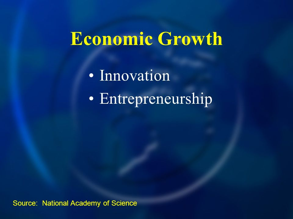 Economic Growth Innovation Entrepreneurship Source: National Academy of Science