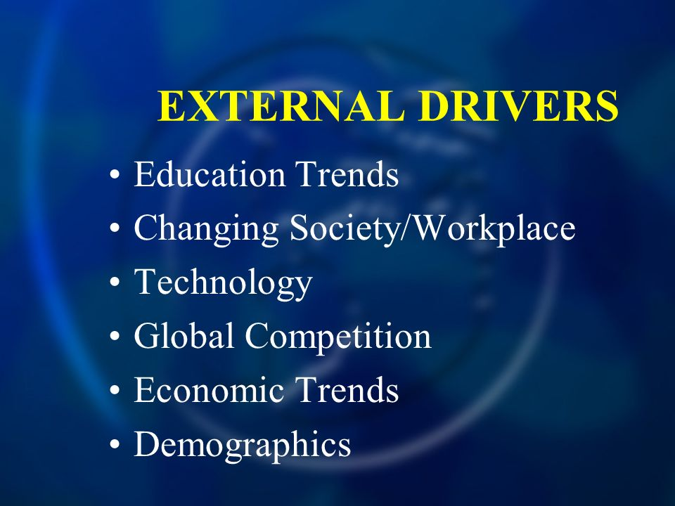EXTERNAL DRIVERS Education Trends Changing Society/Workplace Technology Global Competition Economic Trends Demographics
