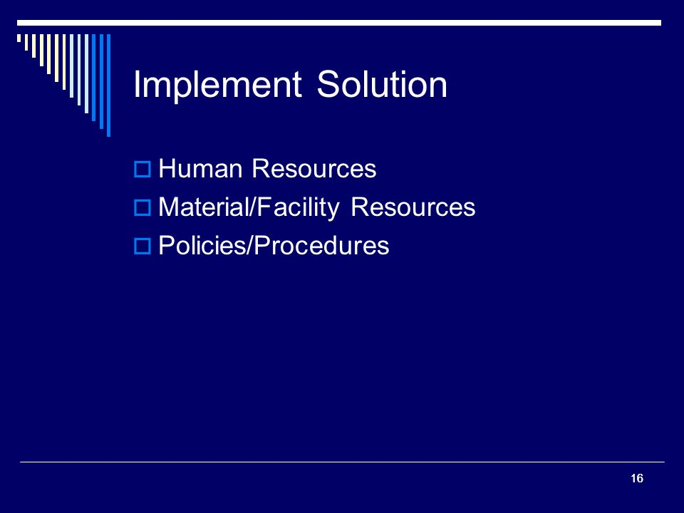 16 Implement Solution Human Resources Material/Facility Resources Policies/Procedures