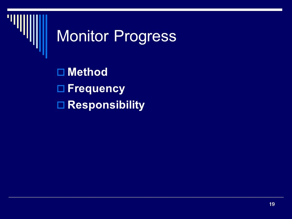 19 Monitor Progress Method Frequency Responsibility