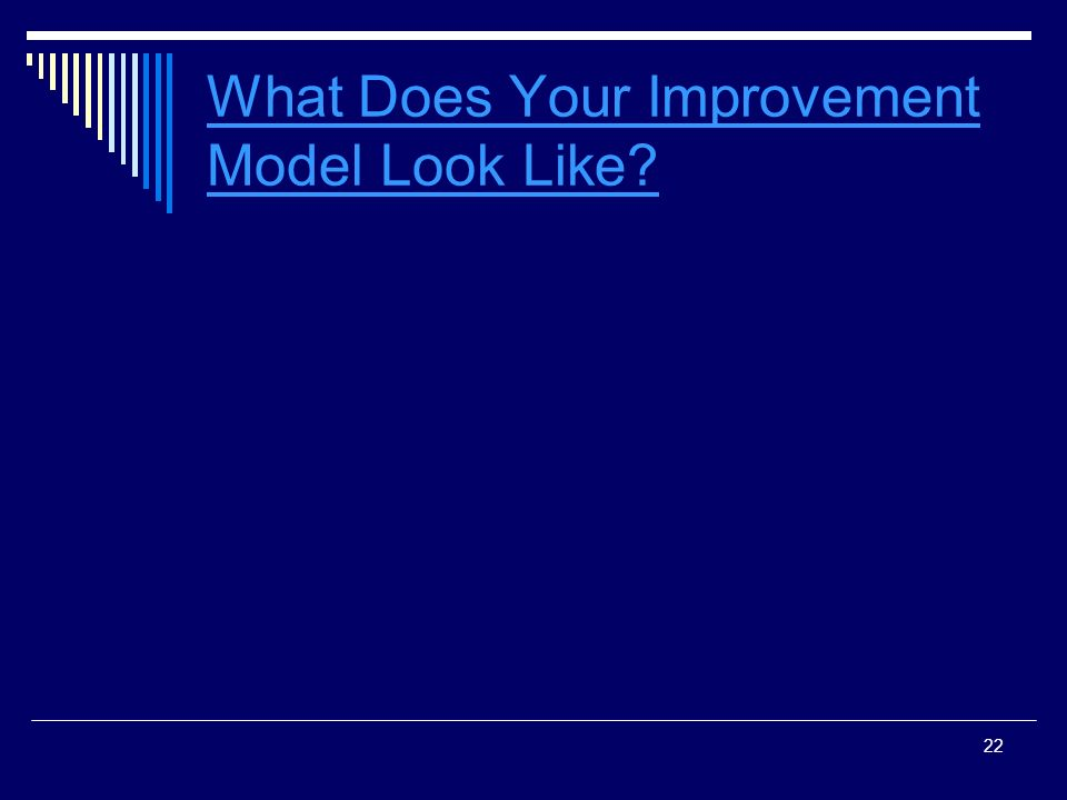 22 What Does Your Improvement Model Look Like