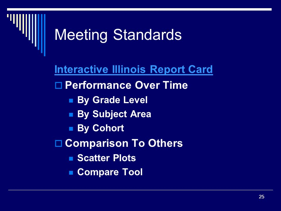 25 Meeting Standards Interactive Illinois Report Card Performance Over Time By Grade Level By Subject Area By Cohort Comparison To Others Scatter Plots Compare Tool