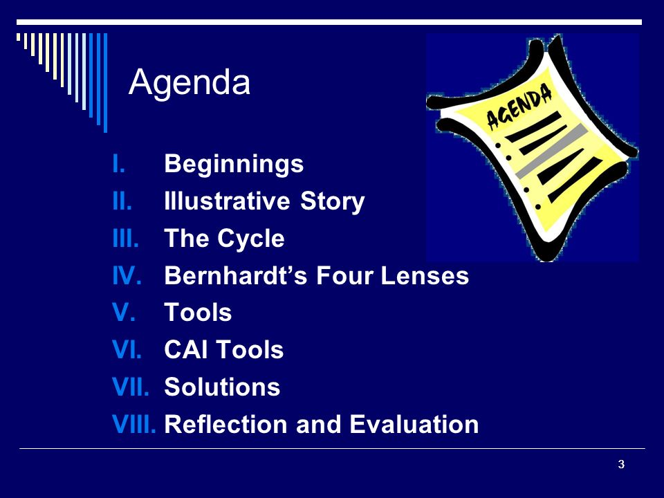 33 Agenda I.Beginnings II.Illustrative Story III.The Cycle IV.Bernhardts Four Lenses V.Tools VI.CAI Tools VII.Solutions VIII.Reflection and Evaluation