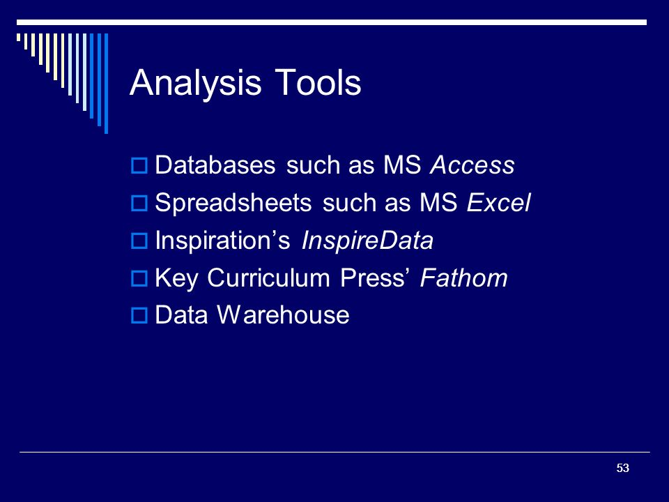 53 Analysis Tools Databases such as MS Access Spreadsheets such as MS Excel Inspirations InspireData Key Curriculum Press Fathom Data Warehouse