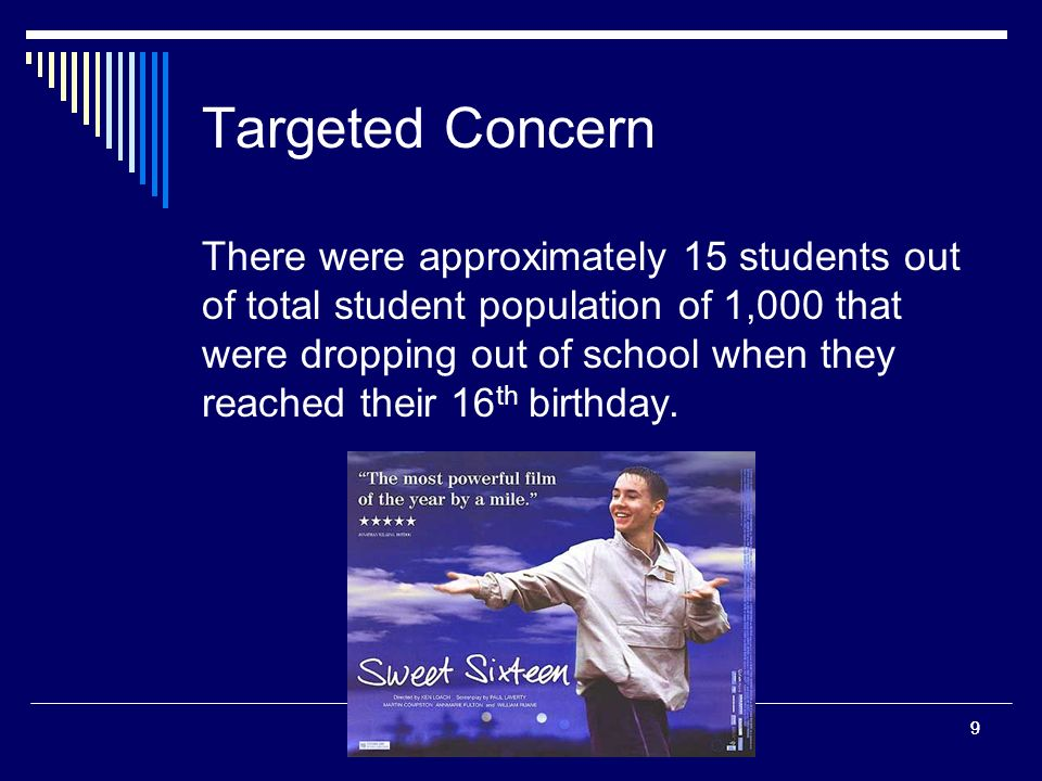 99 Targeted Concern There were approximately 15 students out of total student population of 1,000 that were dropping out of school when they reached their 16 th birthday.