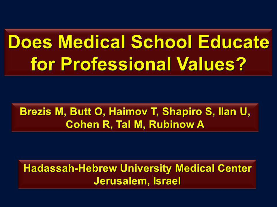 Does Medical School Educate for Professional Values.