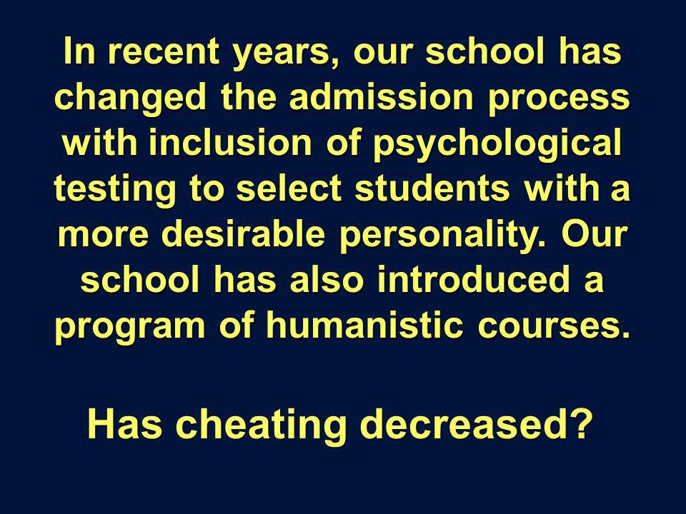 In recent years, our school has changed the admission process with inclusion of psychological testing to select students with a more desirable personality.