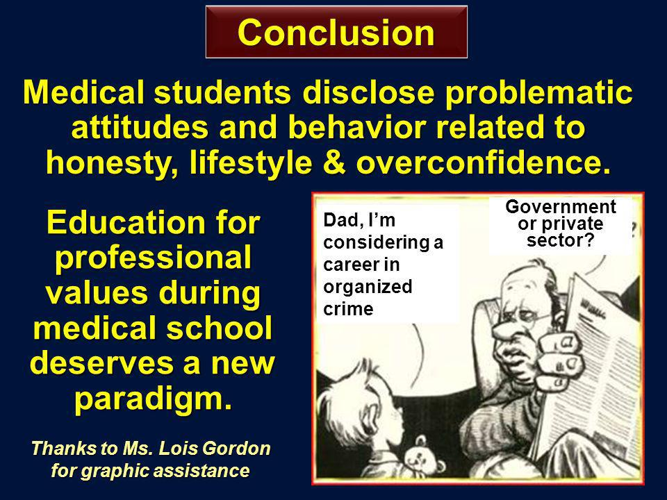 ConclusionConclusion Education for professional values during medical school deserves a new paradigm.