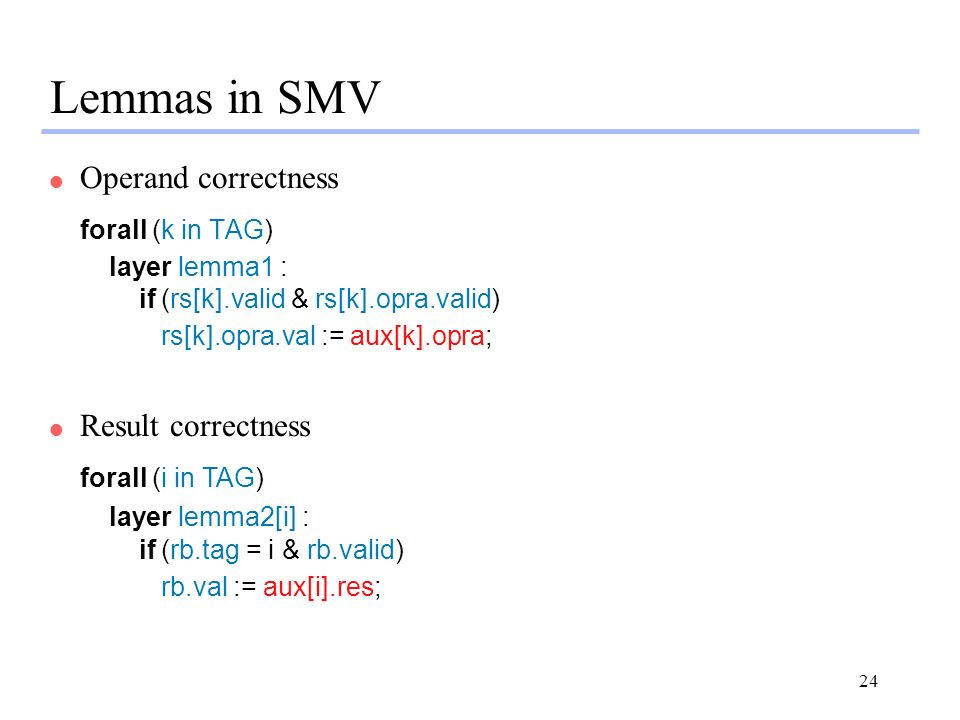 24 Lemmas in SMV l Operand correctness forall (k in TAG) layer lemma1 : if (rs[k].valid & rs[k].opra.valid) rs[k].opra.val := aux[k].opra; l Result correctness forall (i in TAG) layer lemma2[i] : if (rb.tag = i & rb.valid) rb.val := aux[i].res;