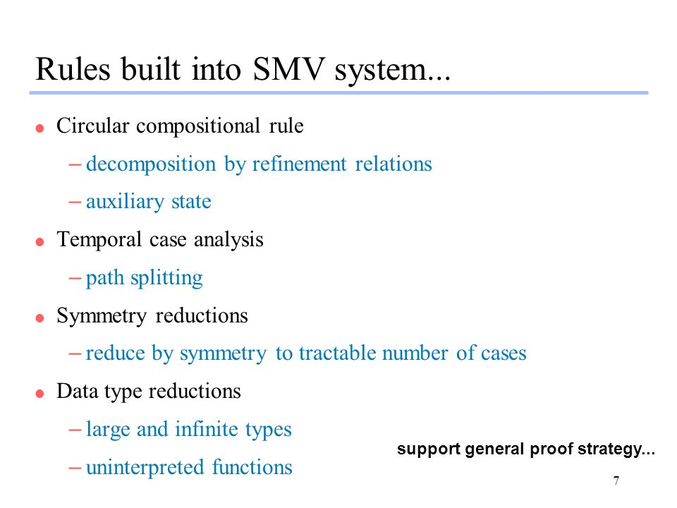 7 Rules built into SMV system...