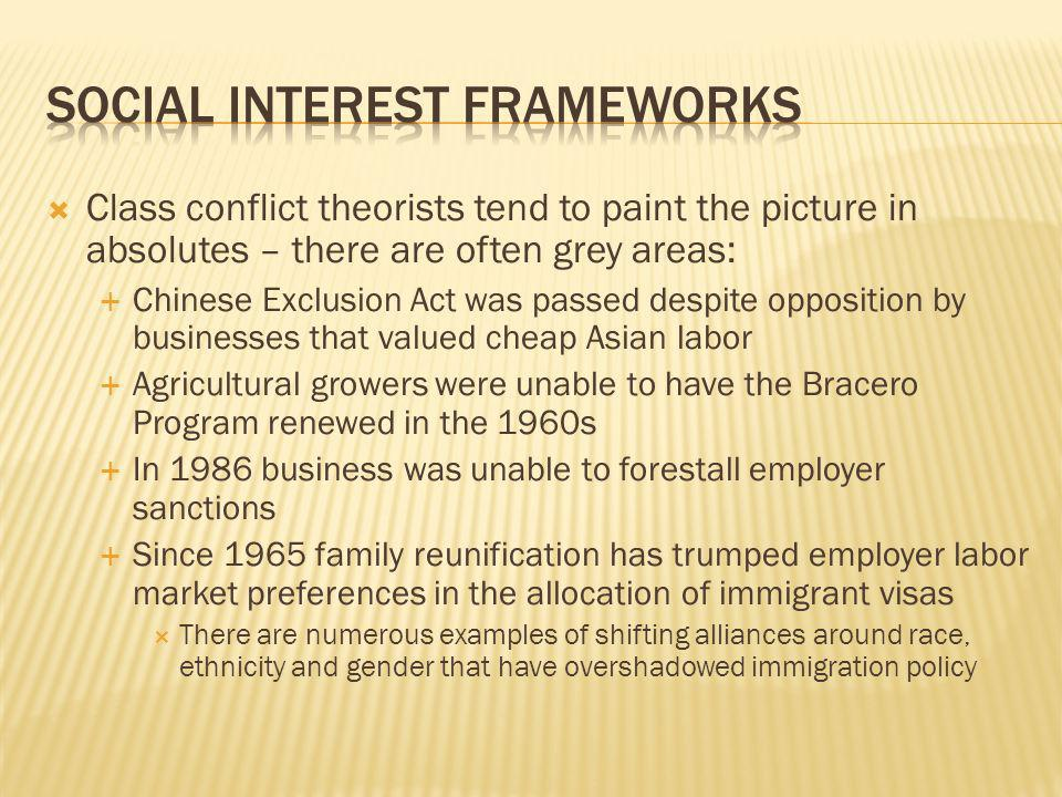 Class conflict theorists tend to paint the picture in absolutes – there are often grey areas: Chinese Exclusion Act was passed despite opposition by businesses that valued cheap Asian labor Agricultural growers were unable to have the Bracero Program renewed in the 1960s In 1986 business was unable to forestall employer sanctions Since 1965 family reunification has trumped employer labor market preferences in the allocation of immigrant visas There are numerous examples of shifting alliances around race, ethnicity and gender that have overshadowed immigration policy