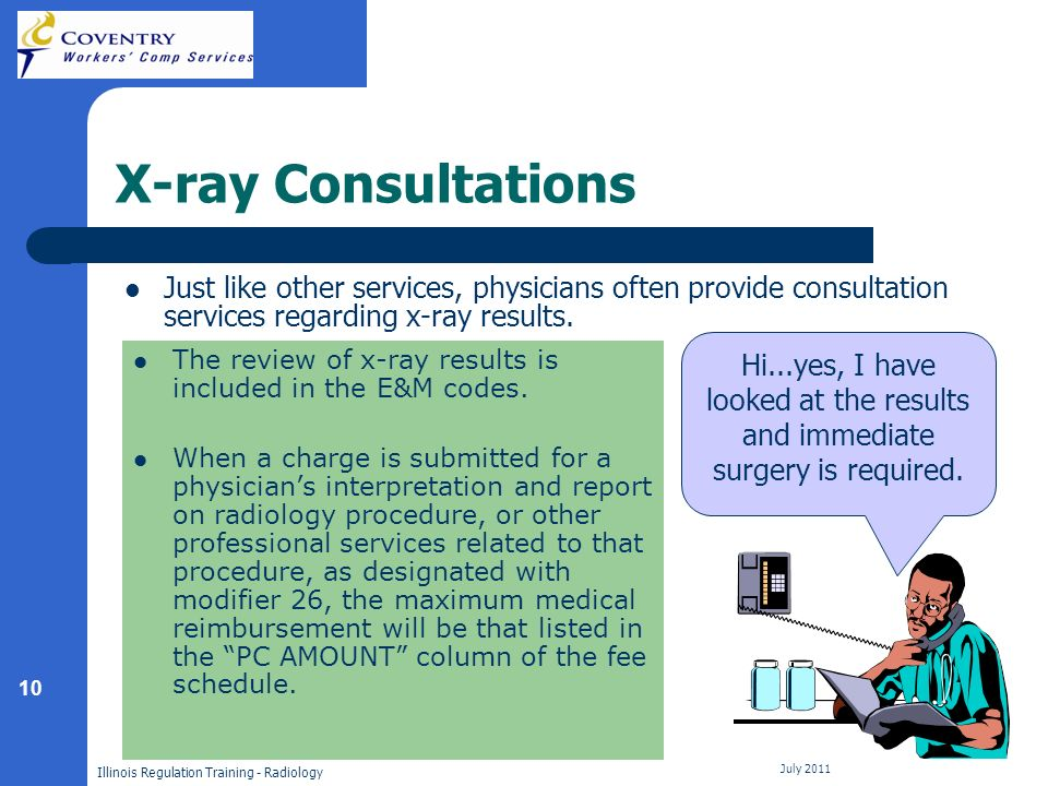 10 Illinois Regulation Training - Radiology July 2011 X-ray Consultations Just like other services, physicians often provide consultation services regarding x-ray results.