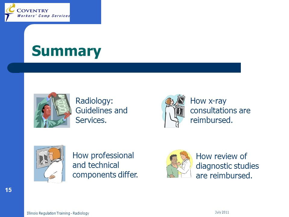 15 Illinois Regulation Training - Radiology July 2011 Summary How professional and technical components differ.